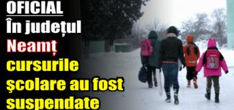 OFICIAL – În județul Neamț cursurile şcolare au fost suspendate