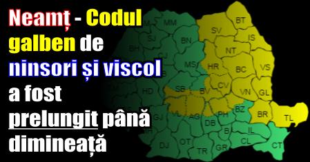 Neamț – Codul galben de ninsori și viscol a fost prelungit până dimineață