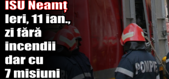 ISU Neamț – Ieri (11 ianuarie), zi fără incendii dar cu 7 misiuni