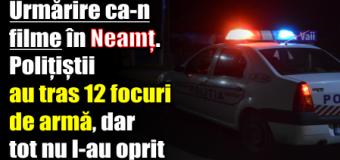 Urmărire ca-n filme în Neamț. Polițiștii au tras 12 focuri de armă, dar tot nu l-au oprit