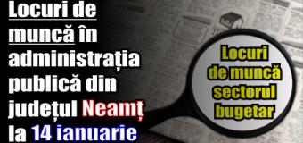 Locuri de muncă în administrația publică din județul Neamț – 14 ianuarie